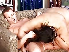 Horny fat MILF sucks large boner on the sofa