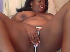 Ebony BBW Big Tits Webcam Rubbing Pussy Through Panties
