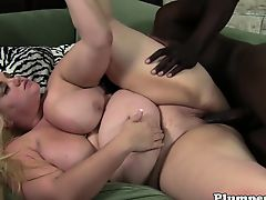 Curvy plumper drilled by black cock